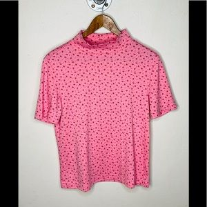 Vintage pink floral turtleneck top.